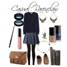 Outfit of the Day: A casual Ravenclaw outfit based off of Harry Potter. Estilo Preppy, Harry Potter Style, Harry Potter Outfits, Themed Outfits, Inspired Outfits, Fandom Fashion, Fandom Outfits, Casual Cosplay, Schmuck Design
