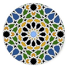 Shop Moorish tile classic round sticker created by svetico. Motifs Islamiques, Islamic Motifs, Islamic Tiles, Islamic Art Pattern, Arabic Pattern, Pattern Art, Geometric Nature, Geometric Drawing, Arabesque Pattern
