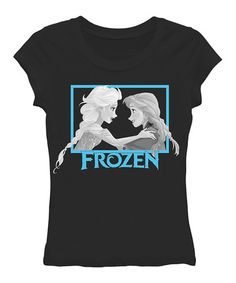 Look at this #zulilyfind! Black Anna & Elsa 'Frozen' Tee - Juniors by Frozen #zulilyfinds - this shirt would be so much better if Elsa and Anna were not in a frame