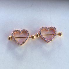 18 GA Golden Fluffy Heart Multi-Gem Cartilage Tragus Earring Davana Enterprises Gold Plated