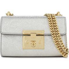 Gucci Padlock metallic leather shoulder bag ($1,325) ❤ liked on Polyvore featuring bags, handbags, shoulder bags, leather shoulder bag, evening purses, gucci, metallic handbags and metallic purse
