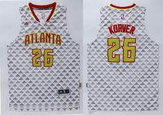 67a6fcebc Atlanta Hawks  26 Korver White Men 2017 New Logo NBA Adidas Jersey