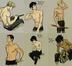 Luke, Percy, Jason, Frank, Nico, and Leo Shirtless in Color!<---- I LOVE Percy an nico so much everyone loves Leo and I respect that but I love nico wayyyyy more<<<< I LOVE NICO AND LEO EQUALLY. THEY'RE BOTH MINE.<--- I think Frank needs more respect.
