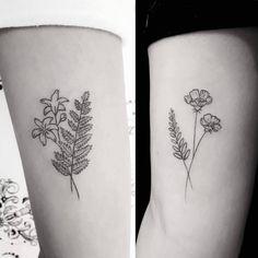 Tatuagens botânicas lindas e delicadas ❤  Feitas pela nossa tattoo artist Dafne Pellizzaro.  #botanica #botanico #raminhos #flowers #flores #fineline #tattoo #delicada #nature #sampatattoo