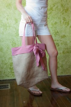 Large Burlap Beach Tote or Shopping Bag with Red & White Gingham Bow. $40.00, via Etsy.
