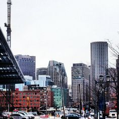 A look into downtown Boston, photo taken from the Seaport District. www.instagram.com/visitboston