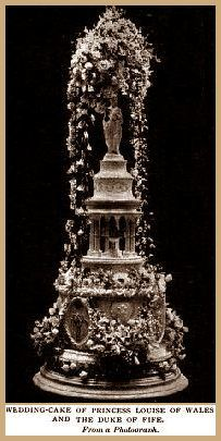 Wedding Cake of Princess Louise of Wales and the Duke of Fife. On the cake stood a Greek temple in sugar. The cake was exhibited for days before the wedding - on the wedding day it was decorated with 20 pounds of natural flowers that covered the entire structure.