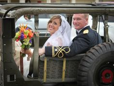 And the bride and groom were toted off to the reception in a military jeep!