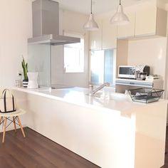 キッチンから家族の顔が見える♪そんなオープンキッチンレイアウトをご ... 最新型のオープンキッチン/フラットタイプ対面型