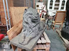 Impressive lion statue from Discover more beautiful items from Christophe Prouveur's collection, a professional Belgian antique dealer, on Transferantique. Statues, Lion Sculpture, Antiques, Beautiful, Collection, Things To Sell, Art, Antiquities, Art Background