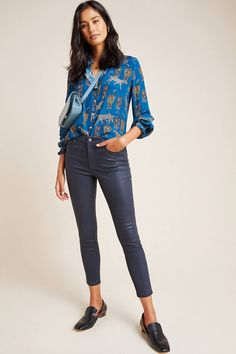 Ella Moss The High-Rise Coated Skinny Ankle Jeans by in Blue Size: Women's Denim at Anthropologie Boho Outfits, Spring Outfits, Winter Outfits, Skinny Ankle Jeans, Skinny Fit, Nyc Fashion, Autumn Fashion, What I Wore, What To Wear