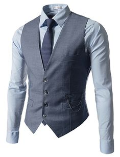 (NIFV233-SKY) Slim Fit Chain Point 4 Button Waistcoat