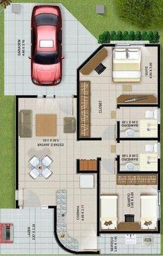 Plano de casa de dos dormitorios en un piso #casaspequeñasdospisos