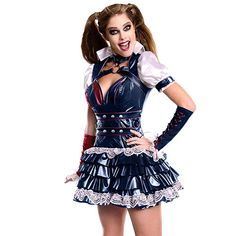 Harley complete costume includes black quilted lining corset with the signature Harley Quinn Blue and red front.