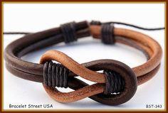 Handmade Leather Hemp MultiWrap Wrist Braclet by BraceletStreetUSA