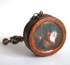 Shadow box pendant diorama necklace polymer clay dwarf in the forest by Lijoux