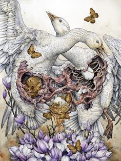 "Lauren Marx, ""To Kill the Goose That Laid the Golden Egg"", 2015. Ballpoint Pen, Ink Pencil, Liquid Ink, Colored Pencil, Graphite, and Gel Pen on Hot-Pressed Watercolor Paper, 18.25 inches by 24 inches (21.5 inches by 27.5 inches framed)"