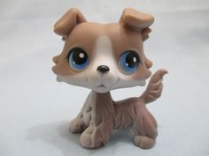 Littlest Pet Shop Grey Collie Blue Eyes #67 RARE Dog Puppy LPS