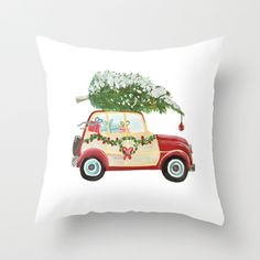 Throw Pillow featuring Vintage Christmas car with tree red