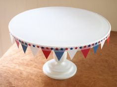 cute made over cake plate for the 4th...Copy Cat Alley
