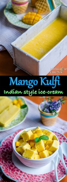 Herbivore Cucina: Mango Kulfi | Indian style Ice Cream...A five ingredient Mango Kulfi; an Indian Mango Ice-cream. This one is no churn and needs no ice cream machine either!  #evaporatedmilk #FiveIngredientRecipes #IndianDesserts #IndianIcecream #Kesarkulfi #kulfi #mangodesserts #mango kulfi #mangopuree #reducedmilkicecream