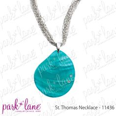 St. Thomas Necklace - love the multi-strand silver chain, the blue-teal color of the shell and the two sparkly embedded crystals!  So nice!
