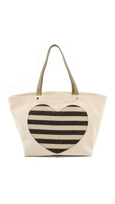 Striped heart tote bag