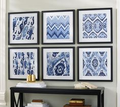 Use frames with patterned scrapbook paper for living room