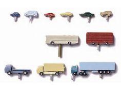 Autos Metall, farbig bemalt, 1:500