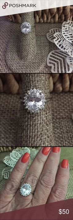 Sz 6 Simulated Diamond Ring Stunning ring with 8.8 cts of simulated diamonds set in Sterling silver, perfect for any finger!  Sz 6, new with tags.   Offers and bundles welcome!  Gift box included. R326 The Metal Daisy Jewelry Rings