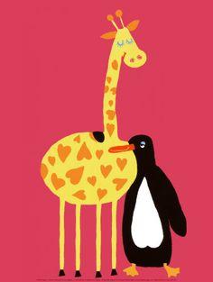 Love Between a Giraffe and a Penguin Lámina     @Elizabeth Hall , it's us!!