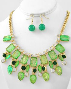 Gold Tone / Green Ab Acrylic & Clear Rhinestone / Lead Compliant / Charm Necklace & Fish Hook Earring Set