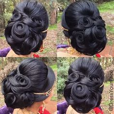 Dress Your Face is pure genius when it comes to makeup and hair! This updo is proof of that. Bridal Hair Buns, Bridal Hair And Makeup, Hair Makeup, Wedding Makeup, Hair Up Styles, Natural Hair Styles, Vintage Hairstyles, Braided Hairstyles, Hairstyles Videos
