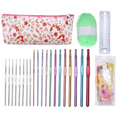 $15.95 High Quality Pink Bag 53Pcs Set Multi-color Aluminum And Silver Crochet Hooks Needles Knit Weave Craft Yarn tool