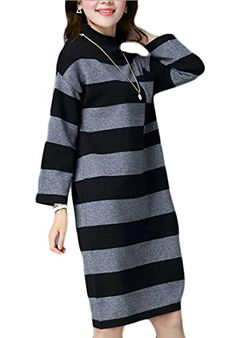Women New Long Sleeve Stripe Plus Size Pocket Cotton Knit Sweater Maxi Dress * Check this awesome product by going to the link at the image.(It is Amazon affiliate link) #WearIT