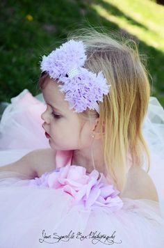 Lavender Hair Bow - Lavender Chiffon Hair Bow with Pearls Stretchy Lavender Headband - Chic Couture - Infant Toddler Girl. $11.00, via Etsy.