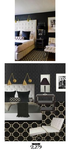 A dark and dramatic bedroom for $2279 by @lindseyboyer for Copy Cat Chic.