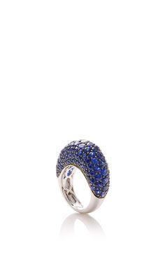 Blue Sapphire Ring in 18K Black and White Gold - Giovane Resort 2016 - Preorder now on Moda Operandi