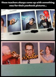 I love when teachers actually love their job and have a sense of humor to boot. I would probably participate in yearbook pictures if we did cool stuff like this! Funny Shit, Funny Pins, The Funny, Funny Stuff, Memes Humor, Jokes, Funny Quotes, Funny Memes, Funny Yearbook Quotes
