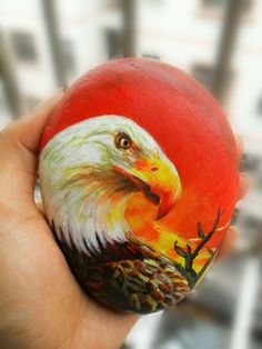 石头画老鹰,丙烯颜料