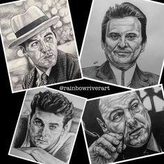 The #capiscefacesseries so far! Many more to come! #rainbowriverart 🏽🖤🇮🇹🗽 #newyork #newjersey #rayliotta #alpacino #jamesgandolfini #joepesci #goodfellas #godfather #thesopranos #theirishman #casino #wiseguys #mob Rainbow River, Ray Liotta, Al Pacino, The Godfather, Hyde, Graphite, Pencil, Sketches, Fine Art