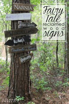 How cute would these fairy tale reclaimed wood signs look in your child's play area? Learn how to make them here! Backyard ideas play areas How to Make Your Very Own Fairy Tale Reclaimed Wood Signs Jardin Decor, Reclaimed Wood Signs, Kids Play Area, Backyard For Kids, Nice Backyard, Backyard Landscaping, Diy Backyard Ideas, Wooded Backyard Landscape, Driveway Entrance Landscaping