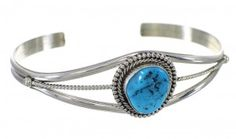 Turquoise Sterling Silver Navajo Indian Cuff Bracelet RX72379