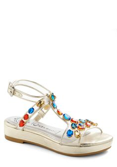 Glow-trotter Sandal by Jeffrey Campbell - Gold, Multi, Solid, Low, Rhinestones, Wedge, Party, Girls Night Out, 80s