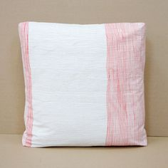 Hand screen printed lines cushion. 100% cotton drill. By Spacecraft.