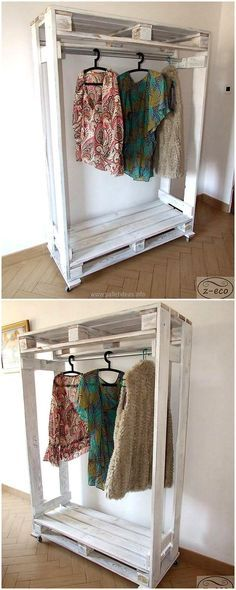 pallet hangers storage wardrobe This is an excellent idea on how to make a closer in a room that has no closet!
