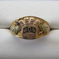 "Antique Black Hills Gold Enamel ""MOM"" Thistle 12K Ring"