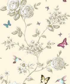 Ideco 14601 Rose garden in cream. Butterflies and birds fly around this rose on a cream background. Available at Ruthin Decor
