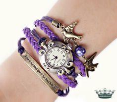 FLIEDERGARTEN Armbanduhr Damenuhr Wickeluhr lila von Schloss Klunkerstein - Designer Schmuck Manufaktur & Armbanduhren für besondere Menschen. Naturschmuck, Geschenke, Vintage Raritäten mit Geschichte! auf DaWanda.com