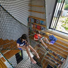 The Tower House by Andrew Maynard. Example of nets for indoor hammocking. #Aug2016